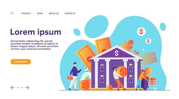 Pessoas com dinheiro indo para a página de destino do prédio do banco