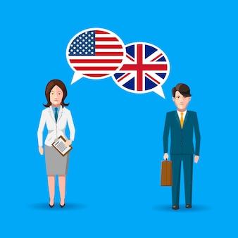 Pessoas com discurso branco bolhas com bandeiras americanas e da grã-bretanha. ilustração conceitual da língua inglesa