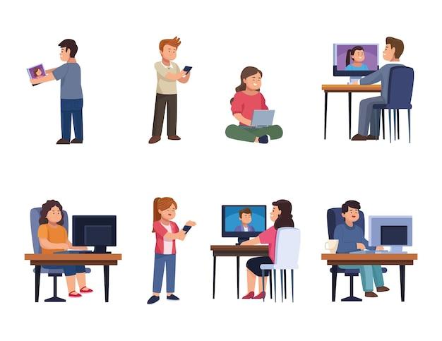Pessoas com dispositivo na coleção de ícones de bate-papo por vídeo