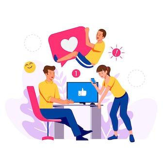 Pessoas com dispositivos de tecnologia como smartphones e computadores