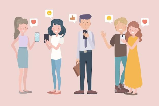 Pessoas com dispositivos de tecnologia