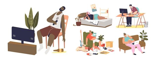 Pessoas com estilo de vida sedentário e maus hábitos dormem na tv, comem fastfood, viciadas em redes sociais