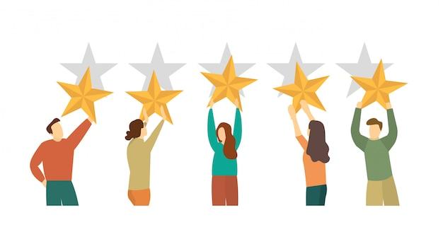 Pessoas com estrelas. feedback do cliente. classificação, cinco estrelas.