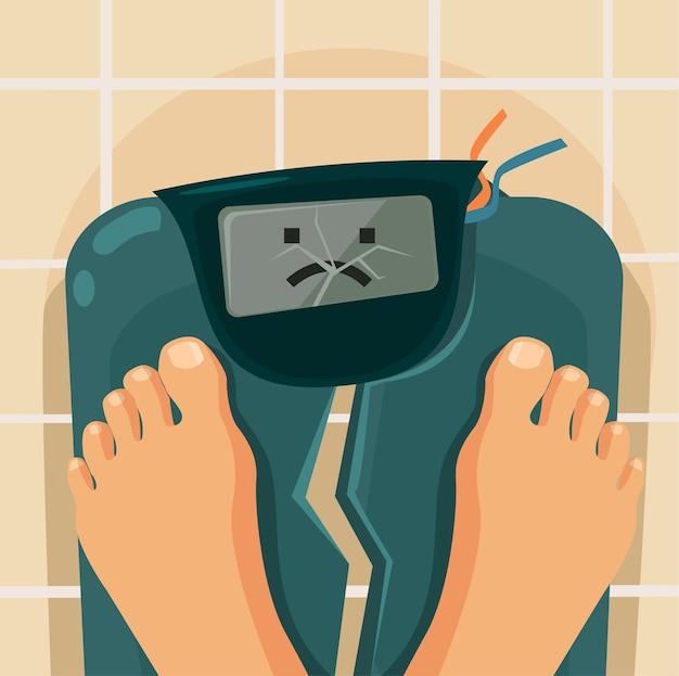 Pessoas com excesso de peso balança quebrada