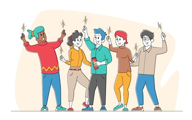 Pessoas com faíscas comemoram feriados