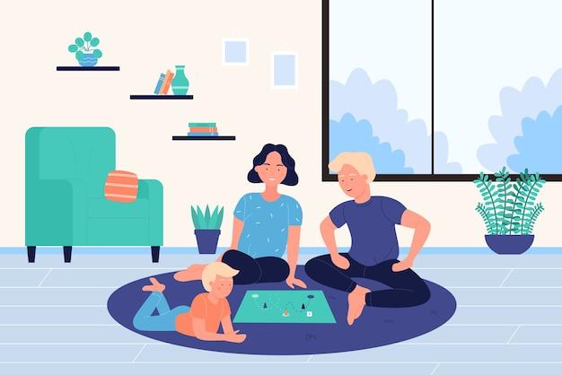 Pessoas com família e criança jogando jogo de tabuleiro em casa juntos