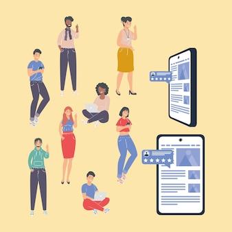 Pessoas com feedback e smartphones