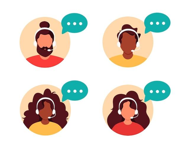 Pessoas com fones de ouvido e microfone. atendimento ao cliente, assistente, suporte, call center.