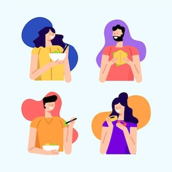 Pessoas com fundo colorido comendo