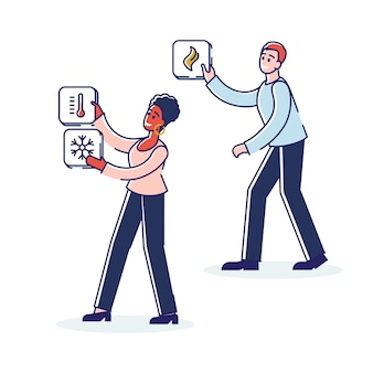 Pessoas com ícones de smart house intelligence