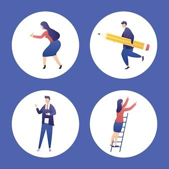 Pessoas com ícones planejados