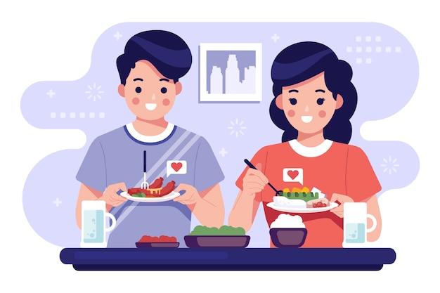 Pessoas com ilustração de coleção de alimentos