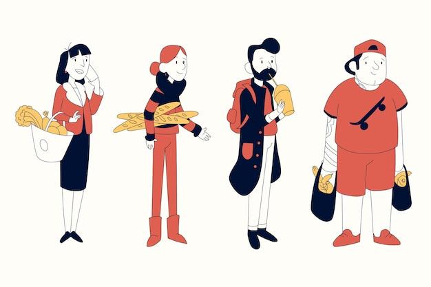 Pessoas com ilustração de comida