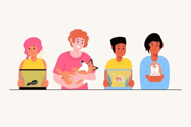 Pessoas com ilustração de diferentes animais de estimação