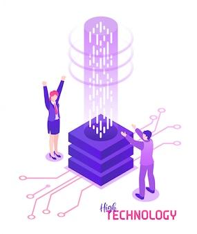 Pessoas com ilustração isométrica de dispositivo de alta tecnologia