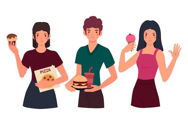 Pessoas com ilustrações de comida