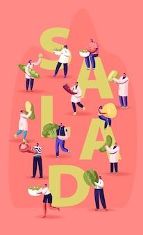 Pessoas com ingredientes para cozinhar o conceito de salada. ilustração plana dos desenhos animados