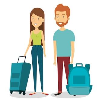 Pessoas com mala viagem vector design ilustração
