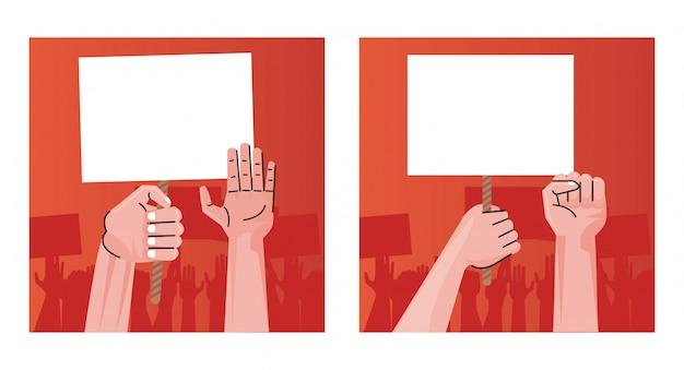 Pessoas com mãos humanas protestando levantando cartazes vazios