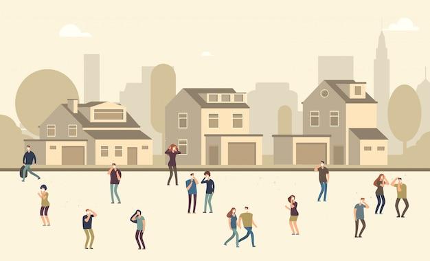 Pessoas com máscara de poeira. homens e mulheres que sofrem de poeira na paisagem urbana. ilustração