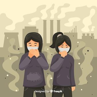 Pessoas com máscara em uma cidade industrial