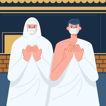 Pessoas com máscara facial em ilustração de peregrinação hajj