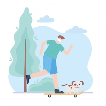 Pessoas com máscara facial médica, homem andando de skate com cachorro