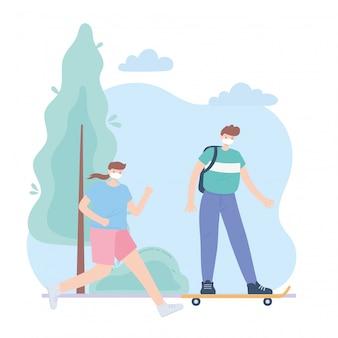 Pessoas com máscara facial médica, mulher correndo e menino andando de skate no parque