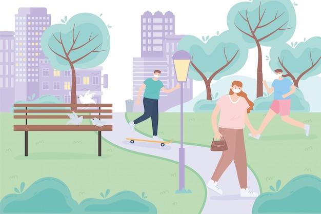 Pessoas com máscara facial médica, pessoas andando, andando de skate e correndo, atividade da cidade durante o coronavírus