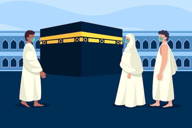 Pessoas com máscara médica em ilustração de peregrinação hajj