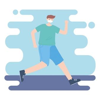 Pessoas com máscara médica, homem praticando exercícios, atividade da cidade durante coronavírus