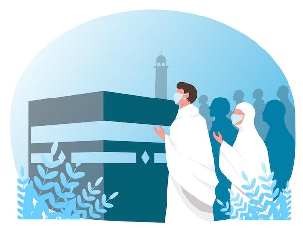 Pessoas com máscara médica para ilustração vetorial de peregrinação hajj islâmica