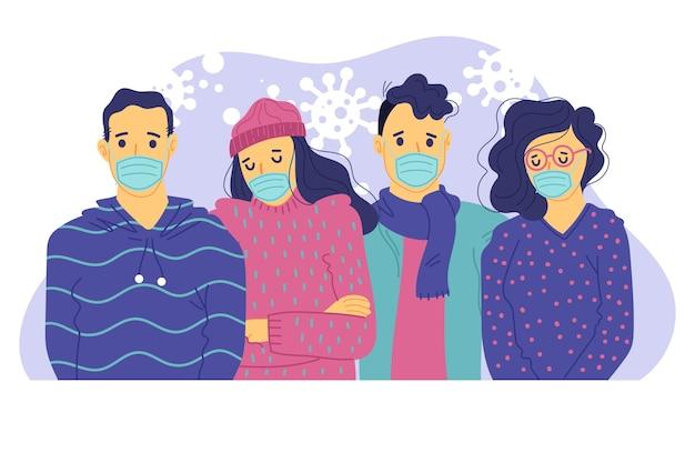 Pessoas com máscara médica protetora