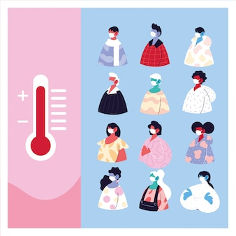 Pessoas com máscara médica sofrem de alta temperatura
