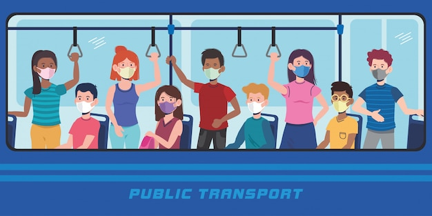 Pessoas com máscara no transporte de ônibus