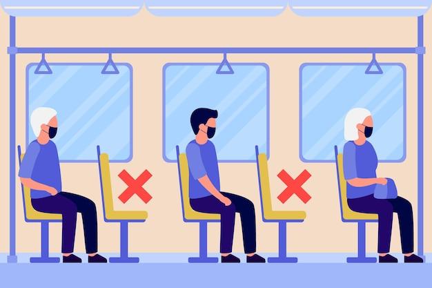 Pessoas com máscara protetora sentadas no metrô de transporte, ônibus mantendo distância.