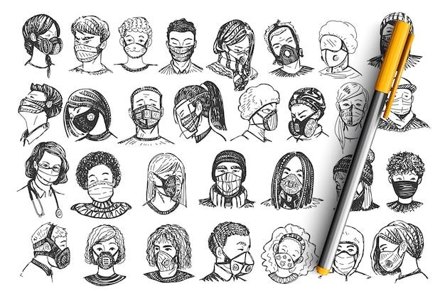 Pessoas com máscaras doodle conjunto.