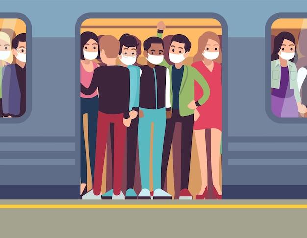 Pessoas com máscaras e metrô. homem e mulher no metrô durante a epidemia, passageiro na máscara médica no trem subterrâneo, pare a disseminação do conceito de desenho plano de vetor de saúde de vírus