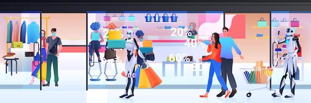 Pessoas com máscaras e robô com carrinho de carrinho andando com compras de tecnologia de inteligência artificial