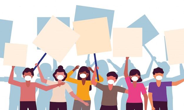 Pessoas com máscaras médicas e placas de banners