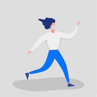Pessoas com máscaras médicas, gesticulando com as mãos isoladas em um fundo branco. surto de coronavirus 2019-ncov. conceito de epidemiologia pandêmica. ilustração em vetor plana.