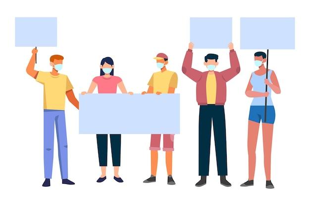 Pessoas com máscaras médicas segurando cartazes vazios