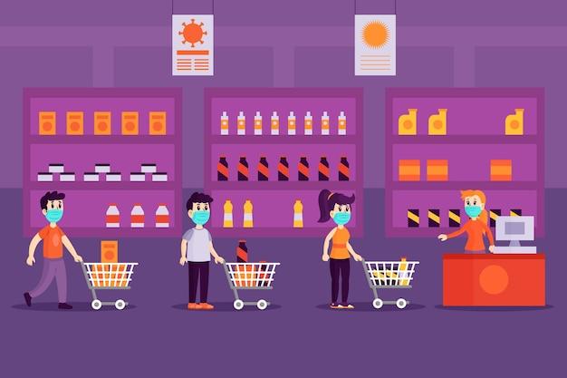 Pessoas com máscaras no supermercado