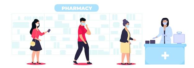 Pessoas com máscaras protetoras compram drogas na farmácia, mantendo uma distância social. compras seguras durante a quarentena da epidemia de coronavírus covid-19