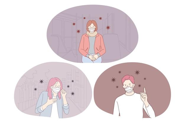 Pessoas com máscaras protetoras médicas evitando a influência de infecções e bactérias ao redor