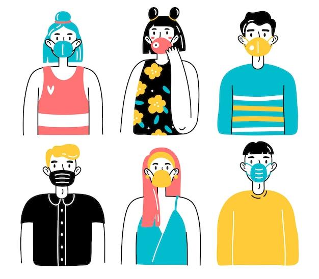 Pessoas com máscaras protetoras médicas. ilustração de homens e mulheres, homens e mulheres usando máscaras médicas, protegendo-se do vírus, poluição do ar urbano, ar contaminado.
