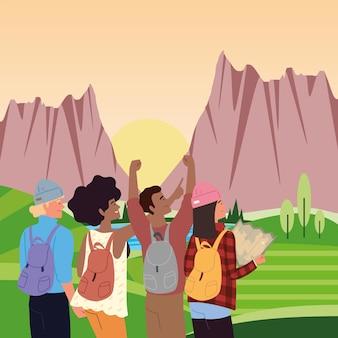 Pessoas com mochilas e mapas nas montanhas