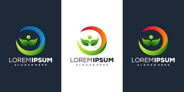 Pessoas com modelo de logotipo gradiente de folha