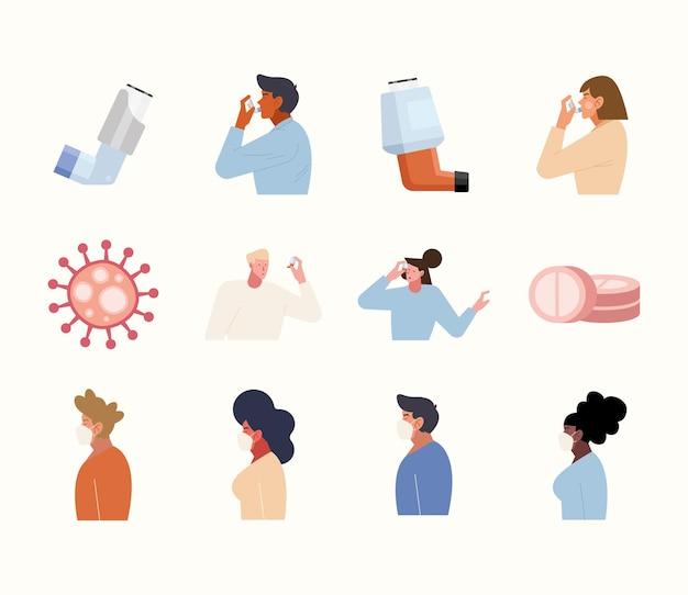 Pessoas com nebulizador e máscara facial
