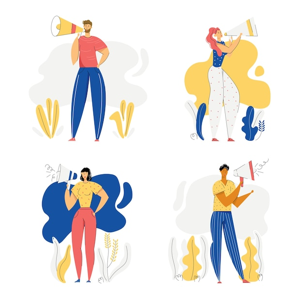 Pessoas com o conceito de publicidade de megafone. personagens masculinos e femininos, promoção com alto-falante. campanha de venda de marketing publicitário.